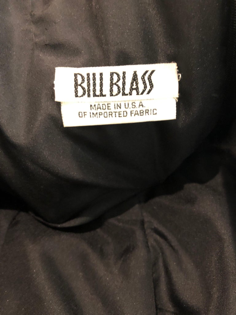 Vintage Bill Blass Couture Size 4 / 6 Black + Nude Beaded Strapless Mermaid Gown For Sale 9
