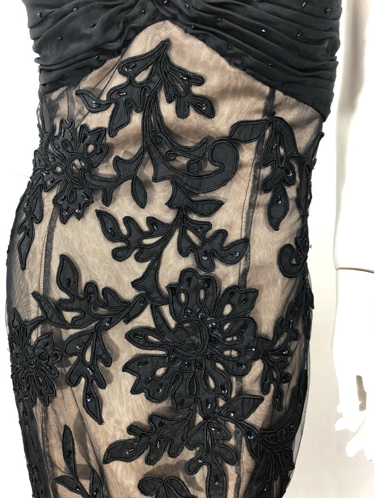 Women's Vintage Bill Blass Couture Size 4 / 6 Black + Nude Beaded Strapless Mermaid Gown For Sale