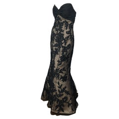 Vintage Bill Blass Couture Size 4 / 6 Black + Nude Beaded Strapless Mermaid Gown