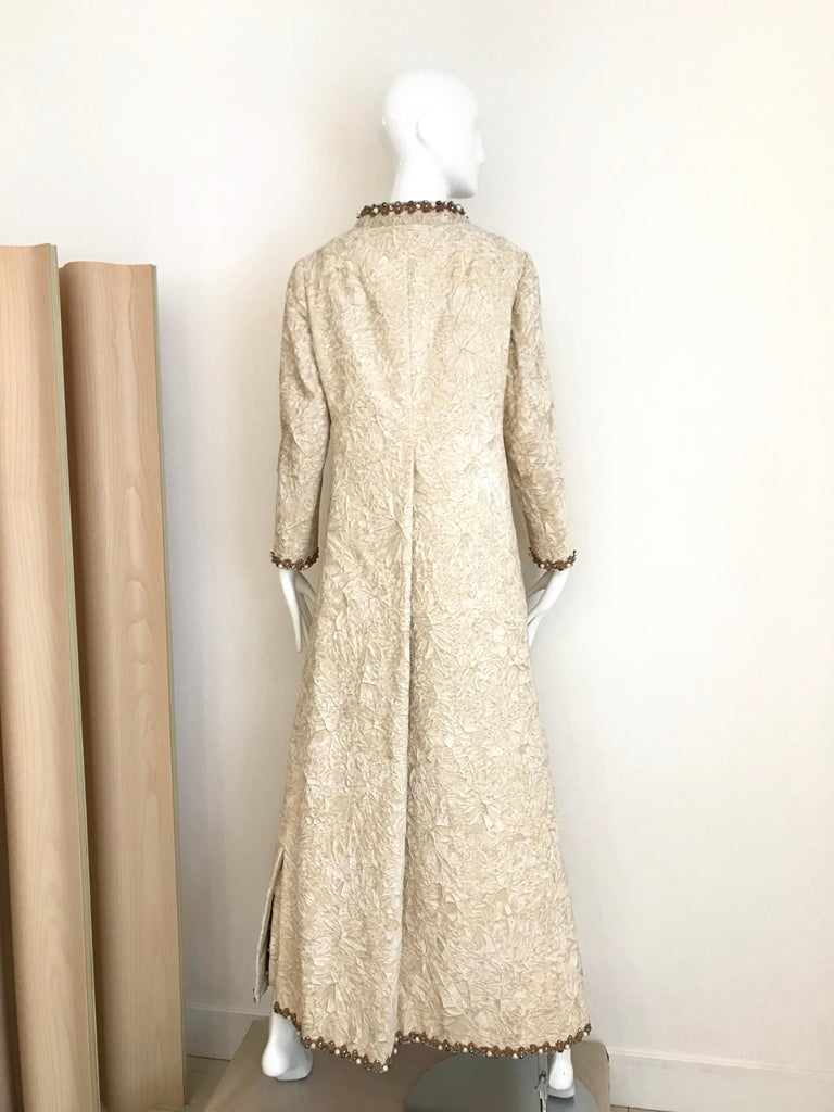 Women's 1960s Bill Blass Creme Crushed Velvet Maxi Dress with matching Coat For Sale