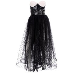 Vintage Bill Blass Dress W Black & White Evening Dress w Tulle & Sequins