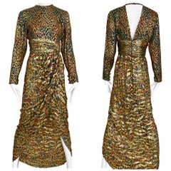 Vintage Bill Blass Green, Red and Gold Print Silk Dress