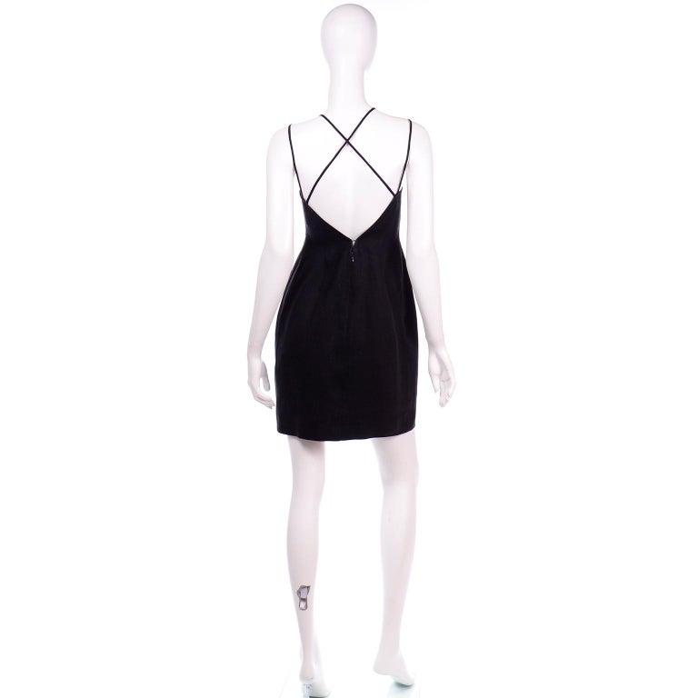 Women's Vintage Bill Blass Linen Little Black Evening Dress W Cutout Neckline & Low Back For Sale
