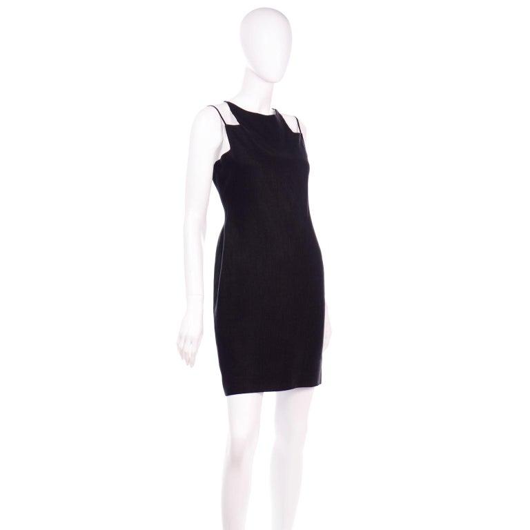Vintage Bill Blass Linen Little Black Evening Dress W Cutout Neckline & Low Back For Sale 1