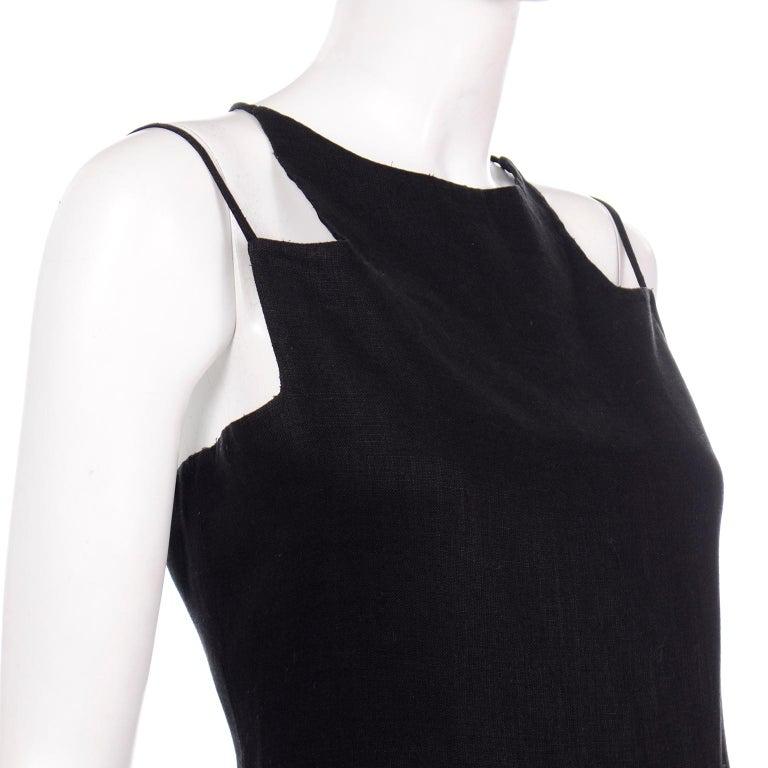 Vintage Bill Blass Linen Little Black Evening Dress W Cutout Neckline & Low Back For Sale 2