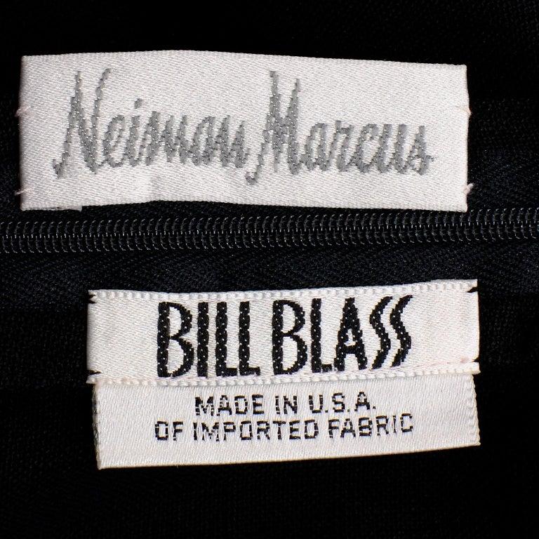 Vintage Bill Blass Linen Little Black Evening Dress W Cutout Neckline & Low Back For Sale 4
