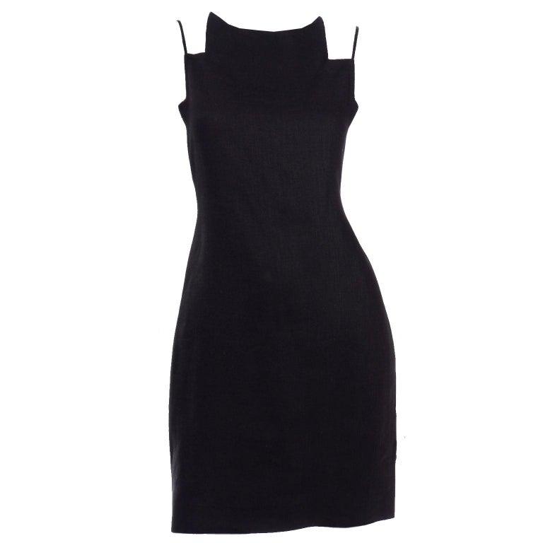 Vintage Bill Blass Linen Little Black Evening Dress W Cutout Neckline & Low Back For Sale