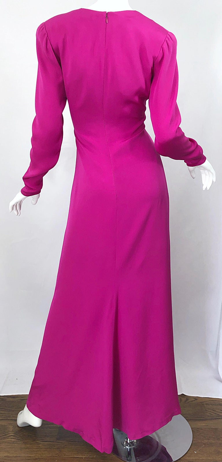 Vintage Bill Blass Size 10 Hot Pink Silk Jersey Cut - Out 1980s 80s Evening Gown For Sale 8