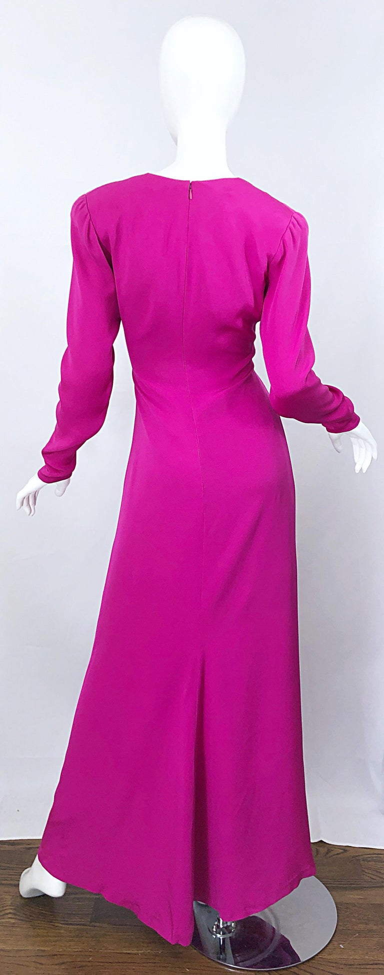 Women's Vintage Bill Blass Size 10 Hot Pink Silk Jersey Cut - Out 1980s 80s Evening Gown For Sale