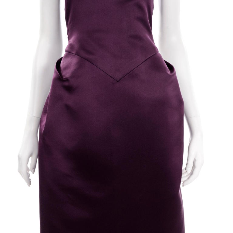 Vintage Bill Blass Two Toned Purple Satin Gathered Evening Dress Gown With Train For Sale 5