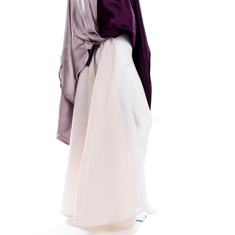 Vintage Bill Blass Two Toned Purple Satin Gathered Evening Dress Gown With Train For Sale 6