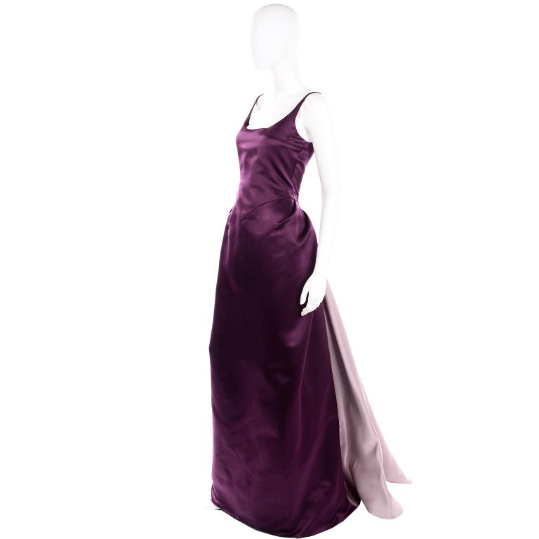 Black Vintage Bill Blass Two Toned Purple Satin Gathered Evening Dress Gown With Train For Sale