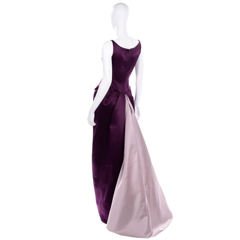 Vintage Bill Blass Two Toned Purple Satin Gathered Evening Dress Gown With Train In Excellent Condition For Sale In Portland, OR