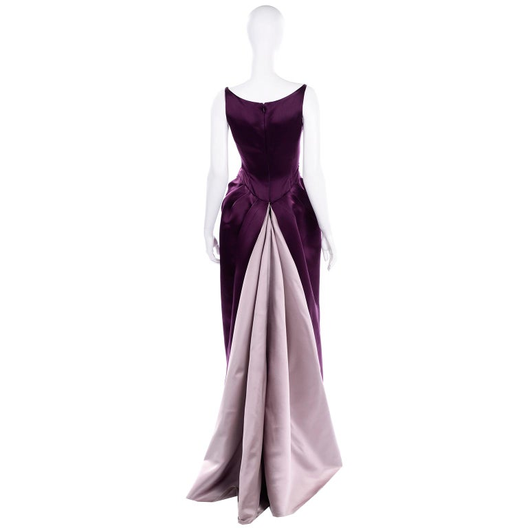 Women's Vintage Bill Blass Two Toned Purple Satin Gathered Evening Dress Gown With Train For Sale