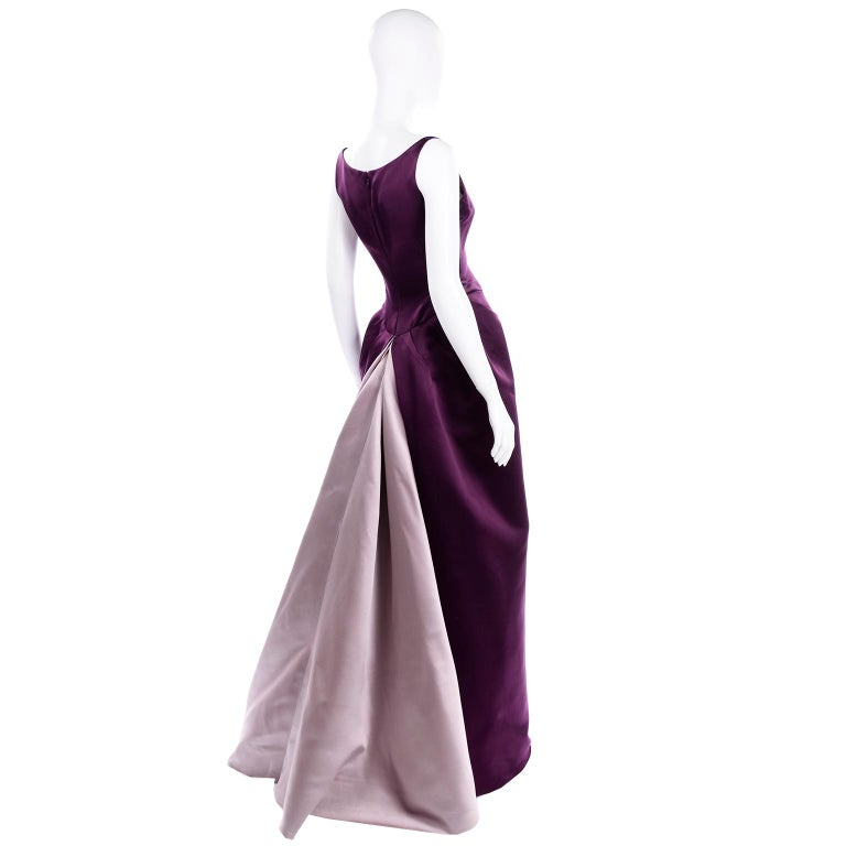 Vintage Bill Blass Two Toned Purple Satin Gathered Evening Dress Gown With Train For Sale 1