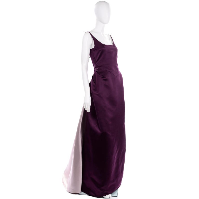 Vintage Bill Blass Two Toned Purple Satin Gathered Evening Dress Gown With Train For Sale 2