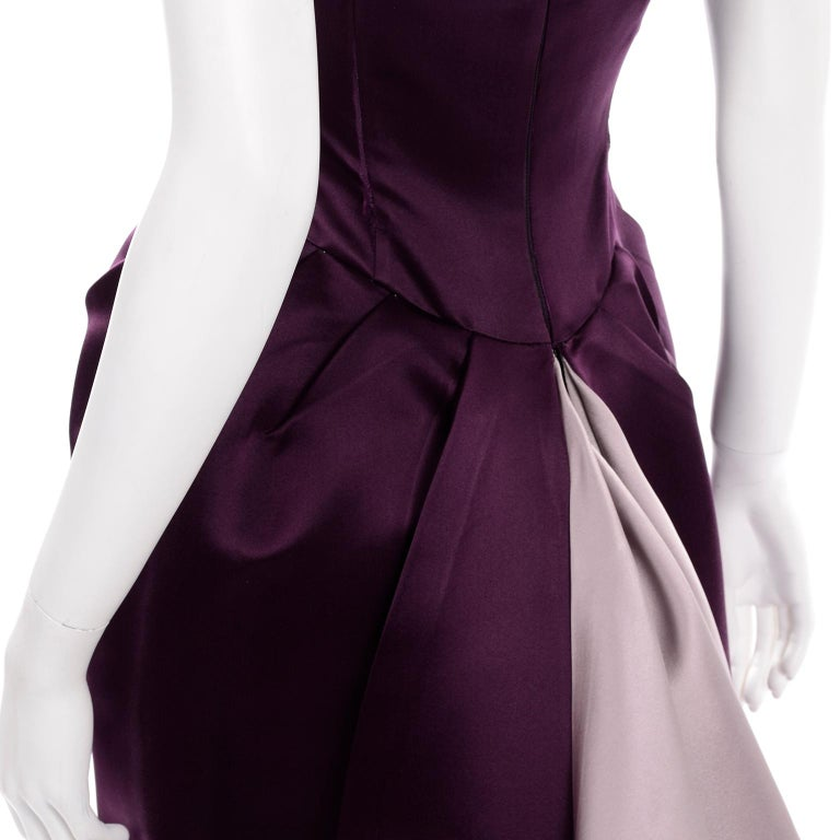 Vintage Bill Blass Two Toned Purple Satin Gathered Evening Dress Gown With Train For Sale 3