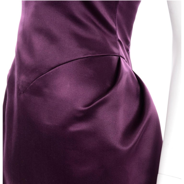 Vintage Bill Blass Two Toned Purple Satin Gathered Evening Dress Gown With Train For Sale 4