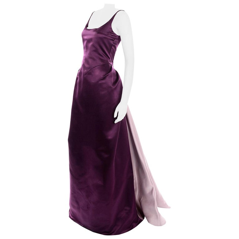 Vintage Bill Blass Two Toned Purple Satin Gathered Evening Dress Gown With Train For Sale