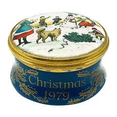 Vintage Bilston & Battersea Enamel Christmas Box 1979