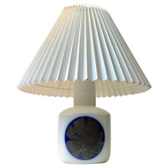 Vintage Bing & Grøndahl Porcelain Table Lamp with Abstract Blue Decor, 1970s