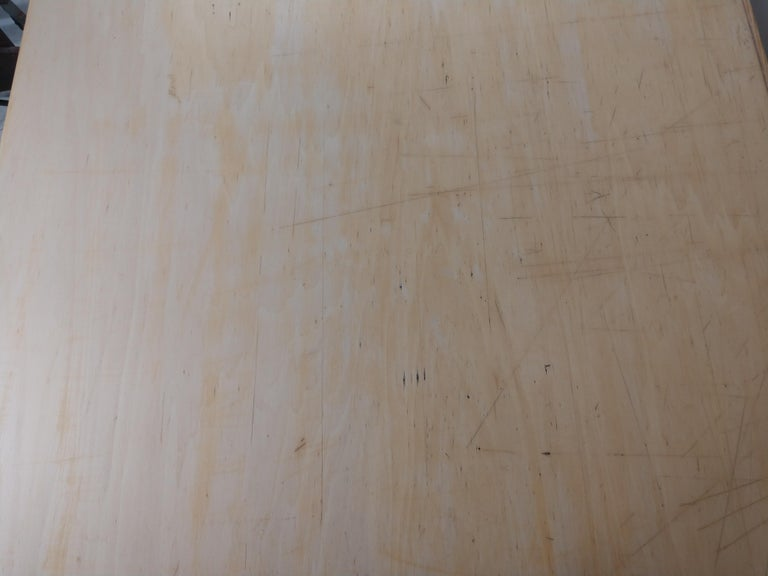 Industrial Vintage Birch & Maple Large Drafting Table For Sale