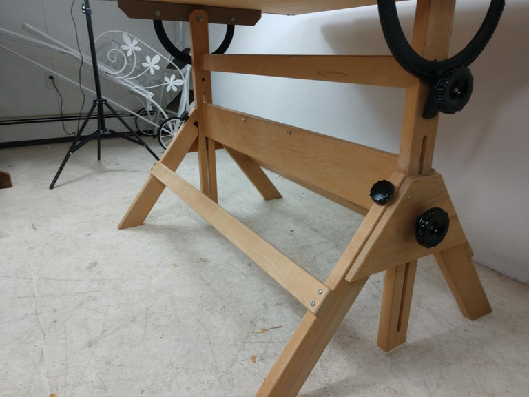 American Vintage Birch & Maple Large Drafting Table For Sale