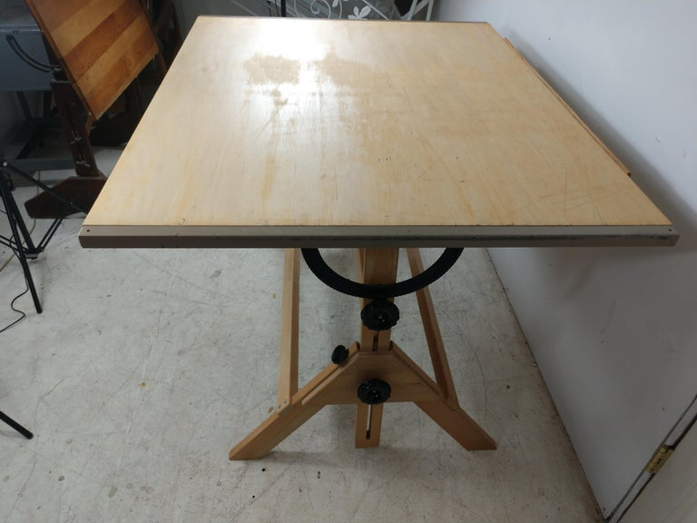 Iron Vintage Birch & Maple Large Drafting Table For Sale