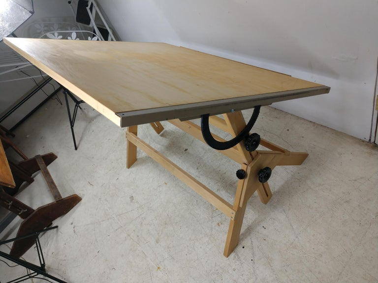 Vintage Birch & Maple Large Drafting Table For Sale 1