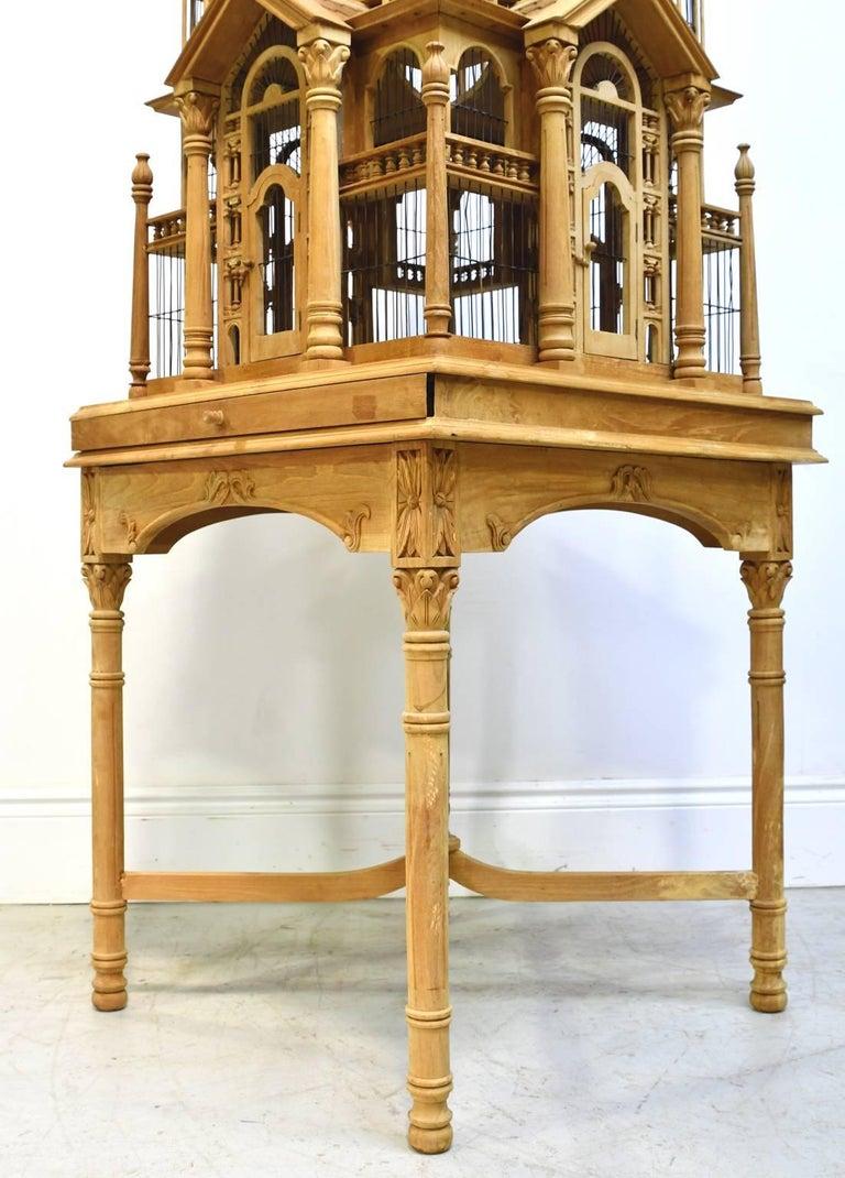 Vintage Bird Cage in Teak Wood with Teak Table Base at 1stdibs