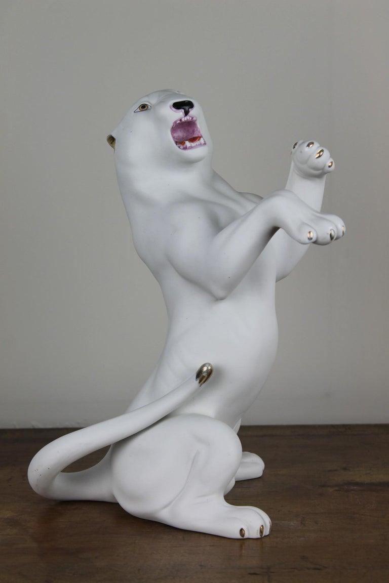 Vintage Biscuit Porcelain White Puma Figurine For Sale 10