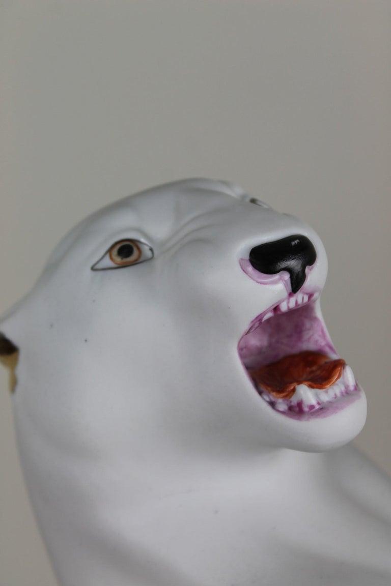 Hollywood Regency Vintage Biscuit Porcelain White Puma Figurine For Sale