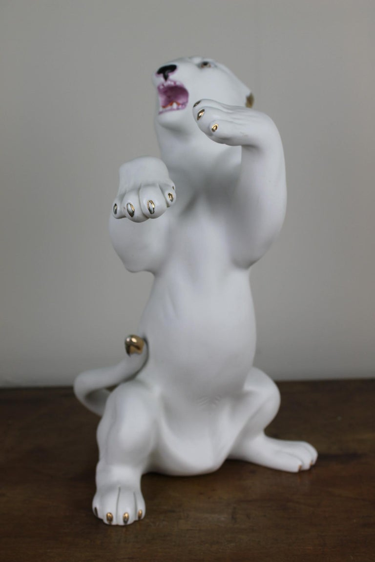 European Vintage Biscuit Porcelain White Puma Figurine For Sale