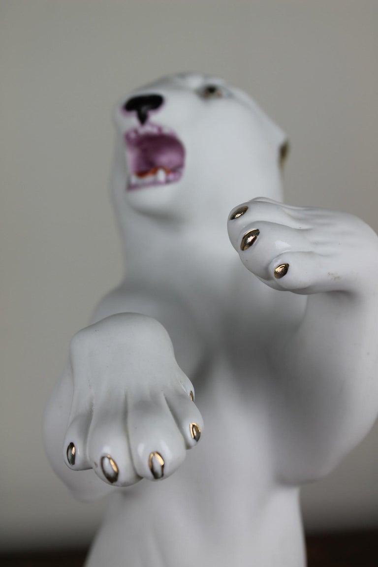 Unglazed Vintage Biscuit Porcelain White Puma Figurine For Sale