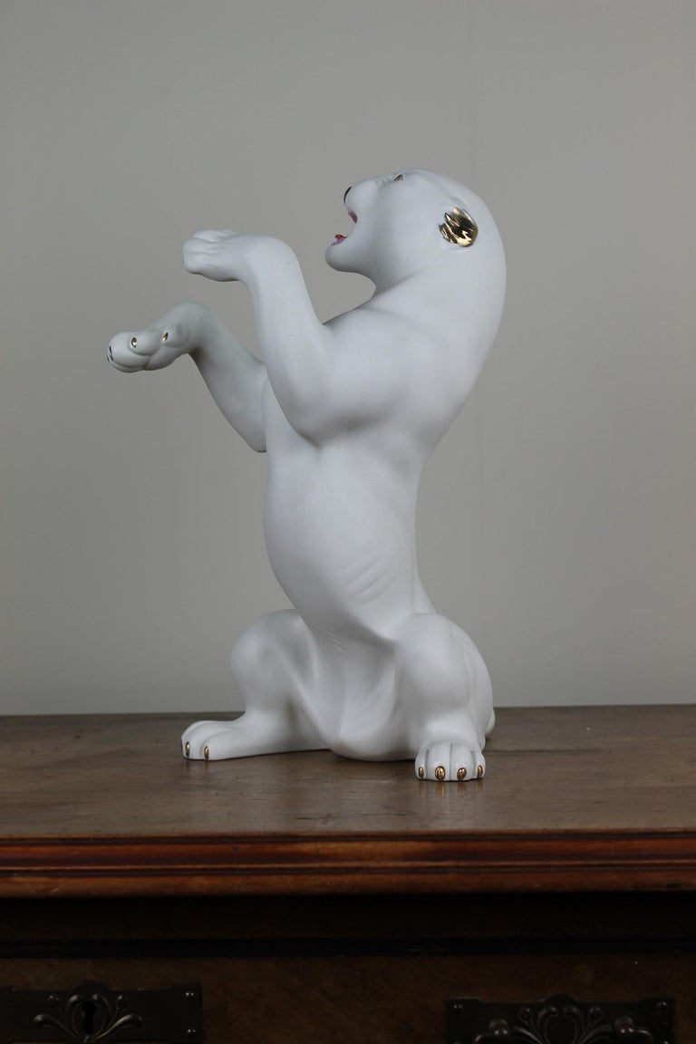 Vintage Biscuit Porcelain White Puma Figurine For Sale 1
