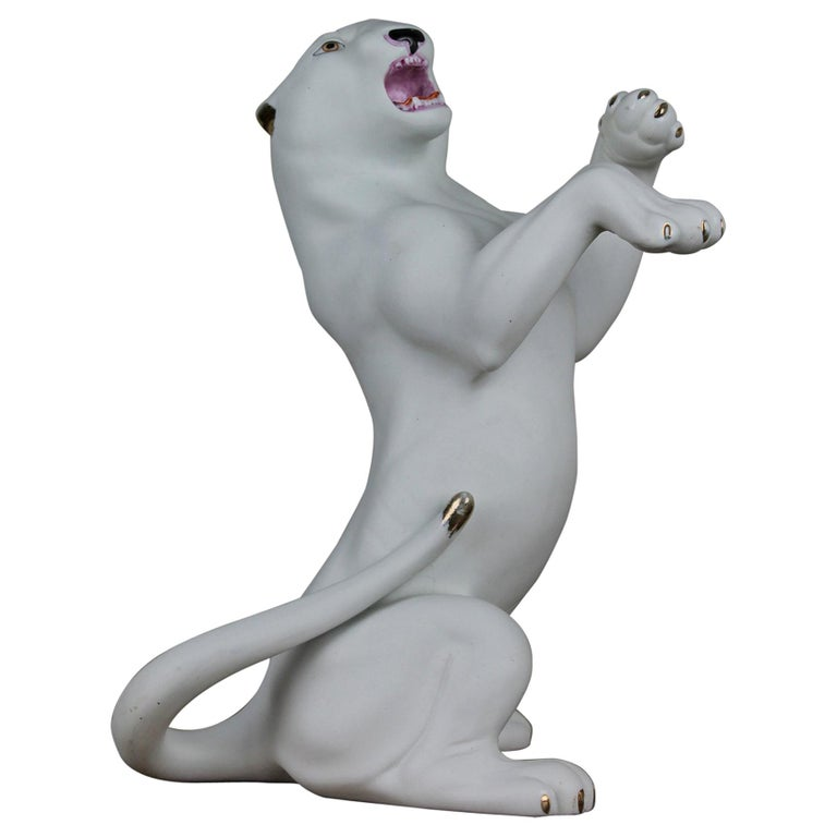Vintage Biscuit Porcelain White Puma Figurine For Sale