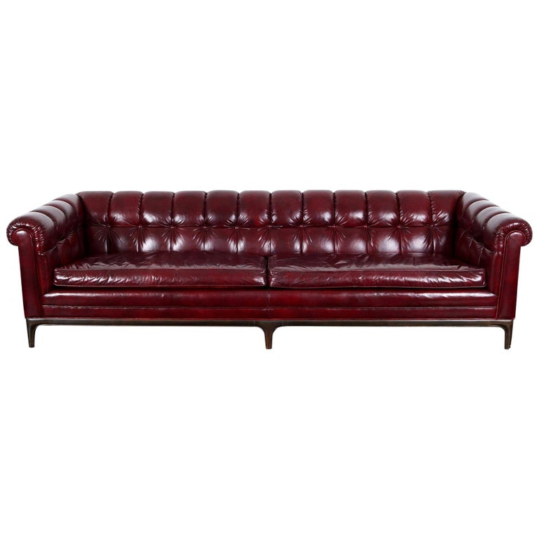 Vintage Biscuit Tufted Leather Sofa by Monteverdi Young For Sale