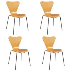 Vintage Bistro Set, Scandinavian, Birch, Set of 4, Dining Chairs, 20th Century