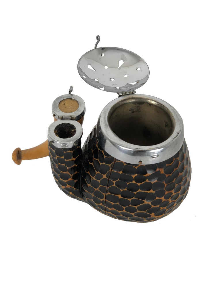 Mid-20th Century Vintage Black Aldo Tura Tobacco Wood and Brass Pipe, 1940s, Italy For Sale
