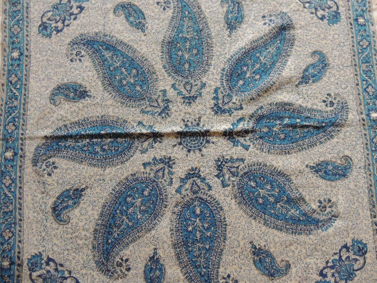 Moorish Vintage Black and Blue Paisley Hand-Blocked Cloth with Hand-Knotted Fringes For Sale