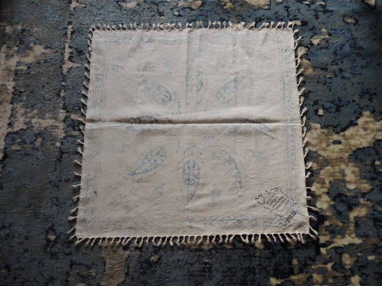Armenian Vintage Black and Blue Paisley Hand-Blocked Cloth with Hand-Knotted Fringes For Sale