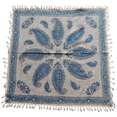 Vintage Black and Blue Paisley Hand-Blocked Cloth with Hand-Knotted Fringes