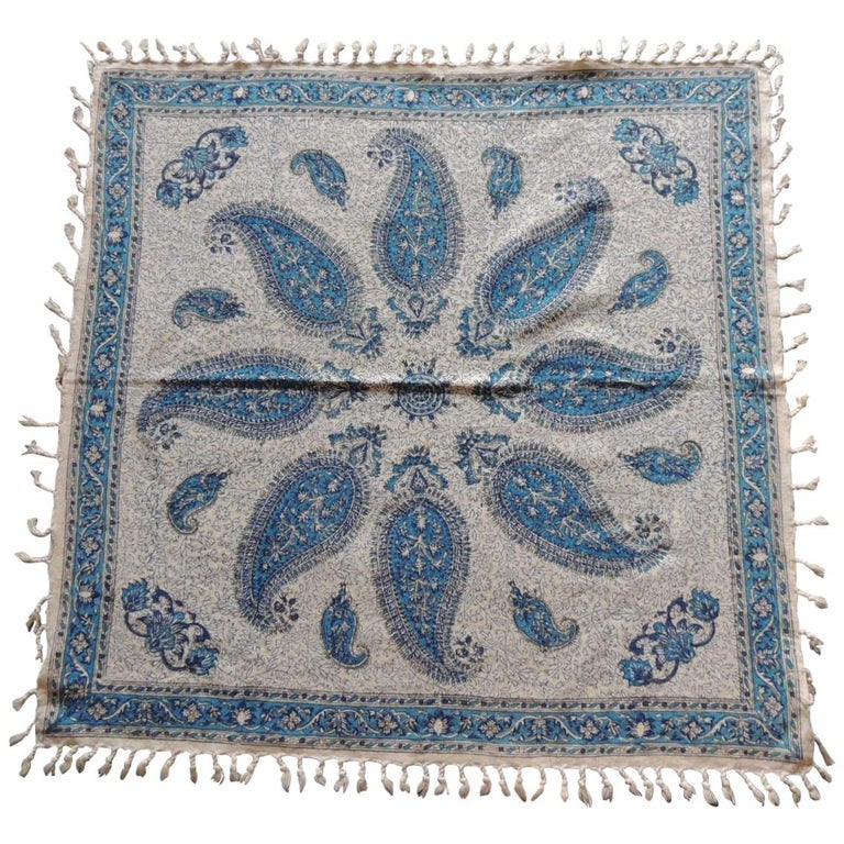 Vintage Black and Blue Paisley Hand-Blocked Cloth with Hand-Knotted Fringes For Sale