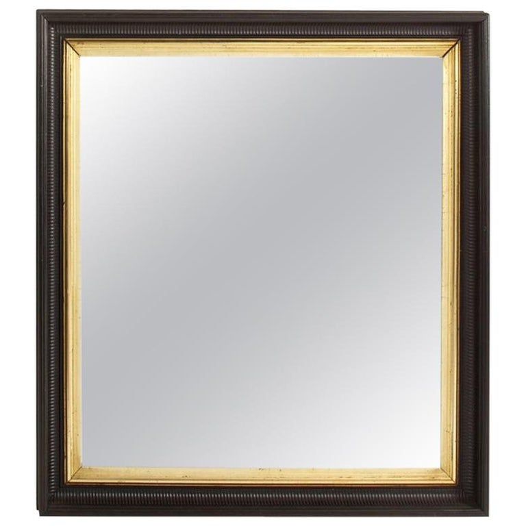 Vintage Black and Giltwood Mirror For Sale