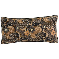 Vintage Black and Gold Batik Textile Bolster Decorative Pillow