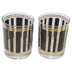Vintage Black and Gold Cocktail Glasses by Culver Set of Two