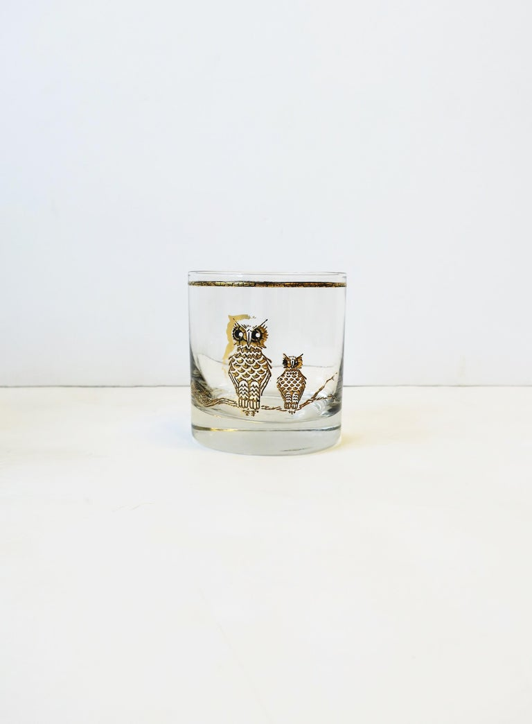 Vintage Owl Bird Cocktail Rocks' Glasses in Black and Gold, ca 1960s, Set of 5 For Sale 5