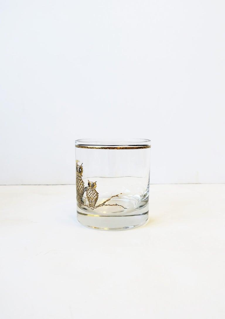 Vintage Owl Bird Cocktail Rocks' Glasses in Black and Gold, ca 1960s, Set of 5 For Sale 6