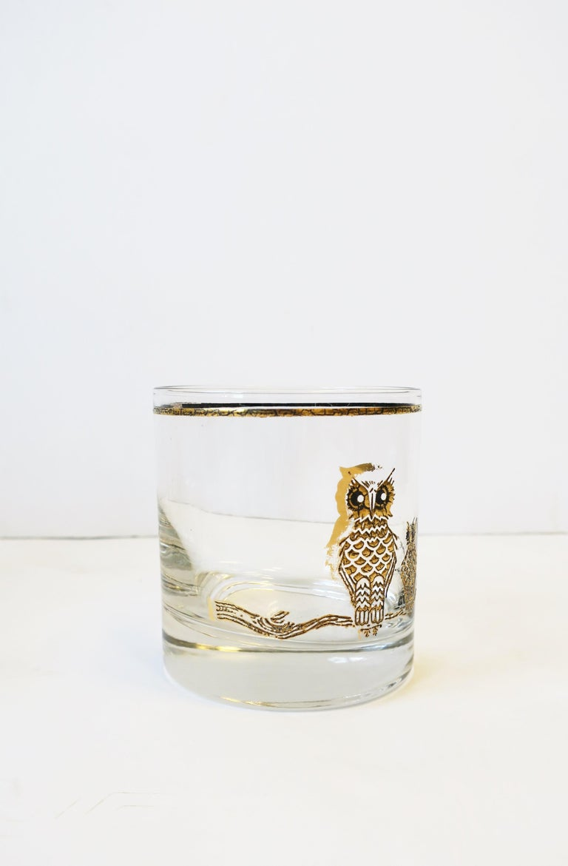 Vintage Owl Bird Cocktail Rocks' Glasses in Black and Gold, ca 1960s, Set of 5 For Sale 7