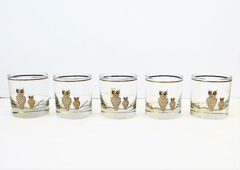 Polychromed Vintage Owl Bird Cocktail Rocks' Glasses in Black and Gold, ca 1960s, Set of 5 For Sale